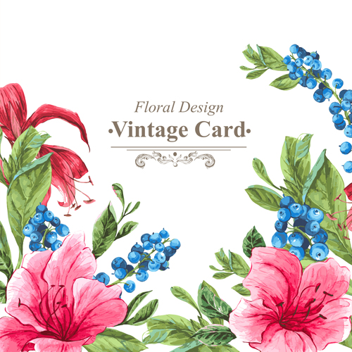 beautiful floral background vintage card vector 04