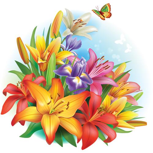 Art Background Designs : Beautiful lilies art background design free download