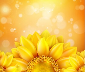 Beautiful sunflowers golden background set vector 02
