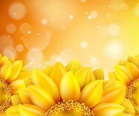 Beautiful sunflowers golden background set vector 03