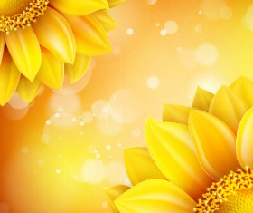 Beautiful sunflowers golden background set vector 10