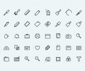 Black outline life icons vectors