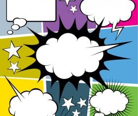Blank text clouds cartoon styles vector 05