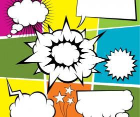 Blank text clouds cartoon styles vector 07