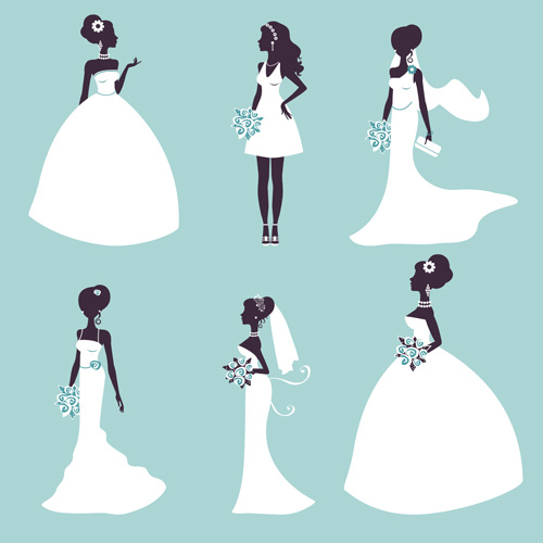 Bride and wedding silhouettes vector material
