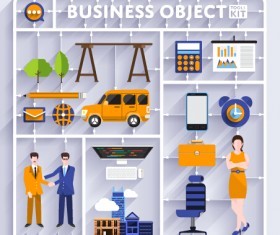 Business object flat vector design set 07
