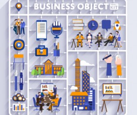 Business object flat vector design set 09