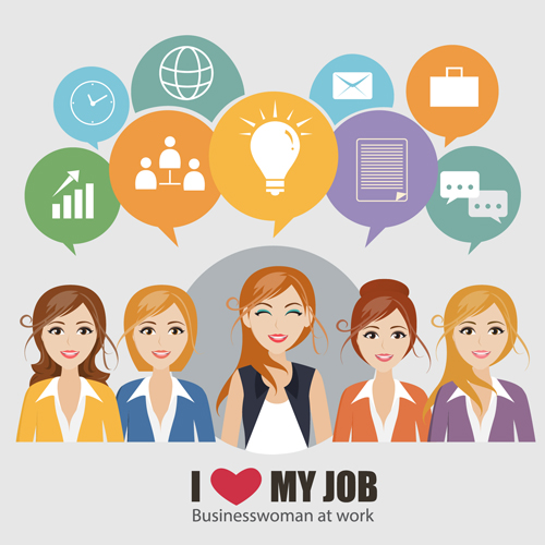 Business people working vector templates set 15
