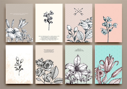 Line Art Card Design : Cards flowers hand drawing vector card free download