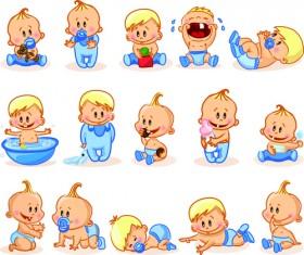Cartoon baby funny vector material 01
