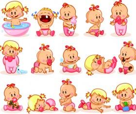 Cartoon baby funny vector material 02