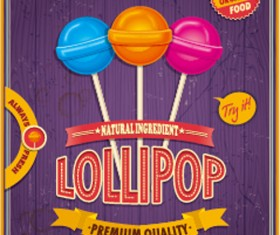 Colored lollipop vintage styles poster vector 01