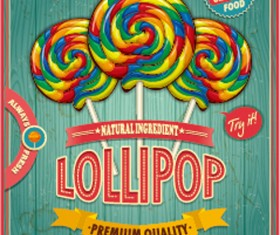 Colored lollipop vintage styles poster vector 02