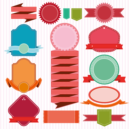 Colored ribbon banners with labels vector material 01