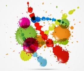 Colorful blot spatter vector design set 02