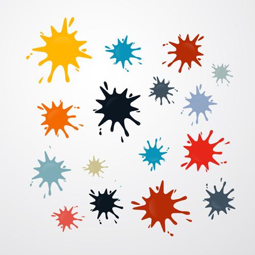 Colorful blot spatter vector design set 03