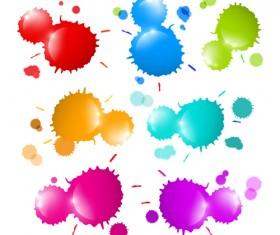 Colorful blot spatter vector design set 04