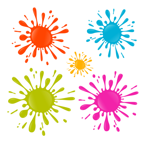 Colorful blot spatter vector design set 05