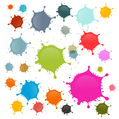 Colorful blot spatter vector design set 06