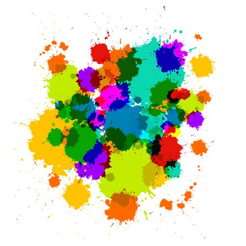 Colorful blot spatter vector design set 07