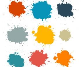 Colorful blot spatter vector design set 08