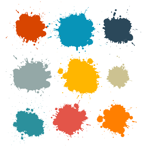 Colorful blot spatter vector design set 08