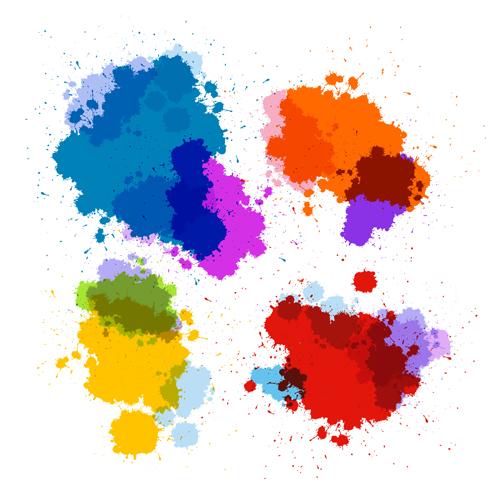 Colorful blot spatter vector design set 09