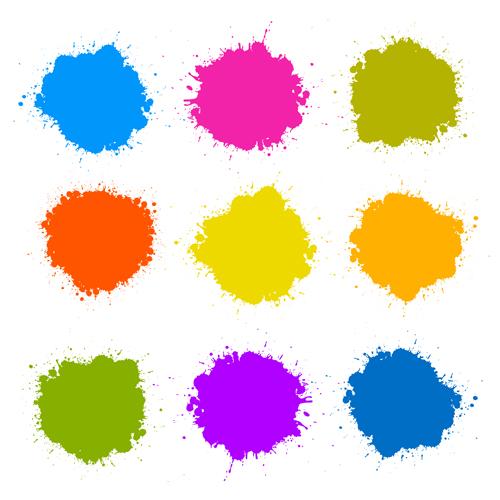 Colorful blot spatter vector design set 12