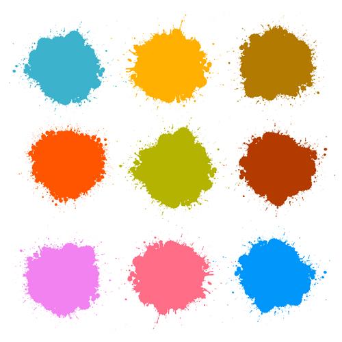 Colorful blot spatter vector design set 13