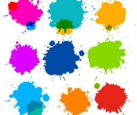 Colorful blot spatter vector design set 14
