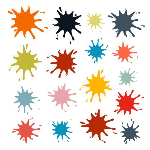 Colorful blot spatter vector design set 16