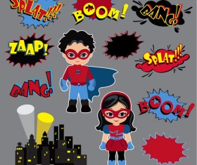 Comic characters with speech bubbles vector material