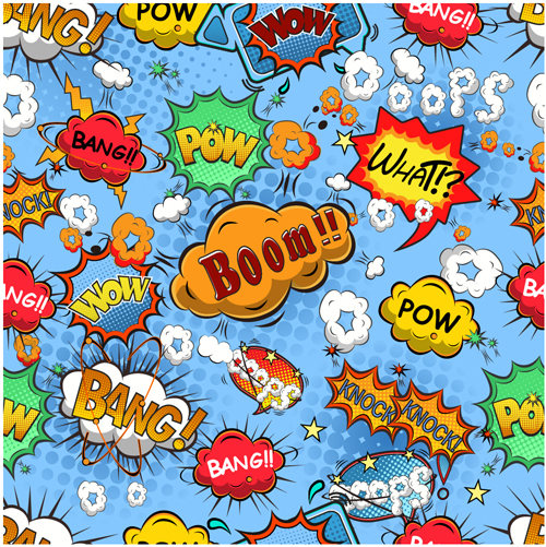 Comic explosion speech bubbles vector seamless pattern 01