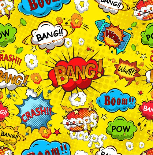 Comic explosion speech bubbles vector seamless pattern 02