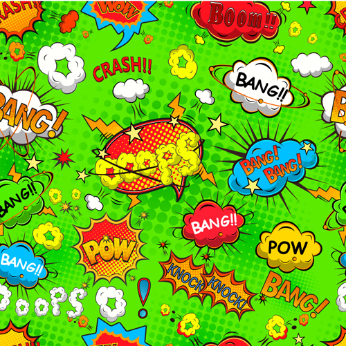 Comic explosion speech bubbles vector seamless pattern 03