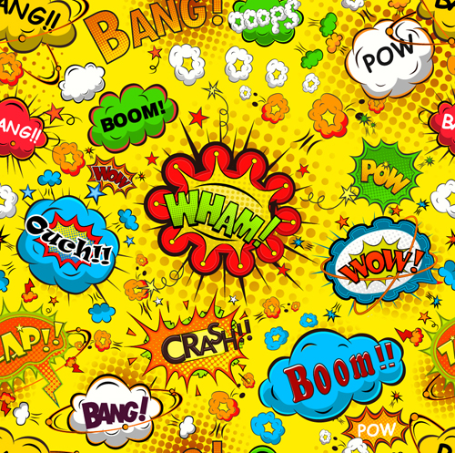 Comic explosion speech bubbles vector seamless pattern 04