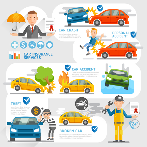 Creative Insurance Business Infographic Template Vector 02 Free Download