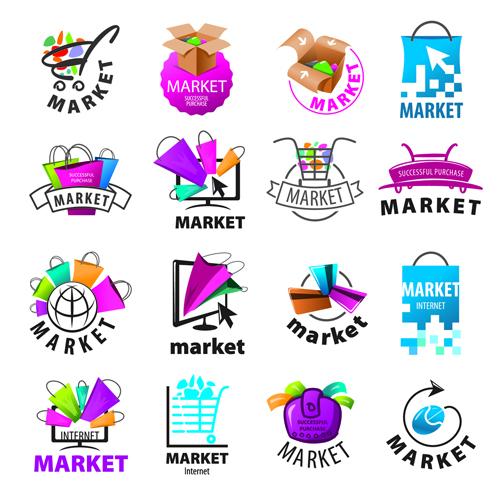 Creative market logos vector set