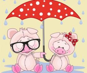 Cute animals and umbrella cartoon vector 01