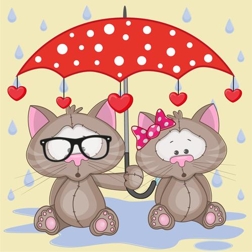 Cute animals and umbrella cartoon vector 02
