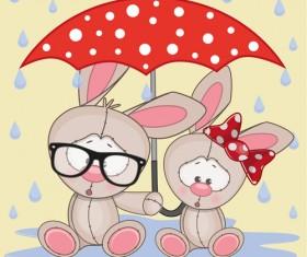 Cute animals and umbrella cartoon vector 03