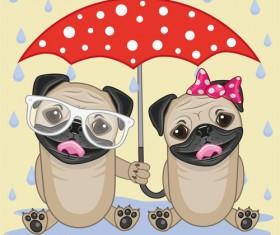 Cute animals and umbrella cartoon vector 06