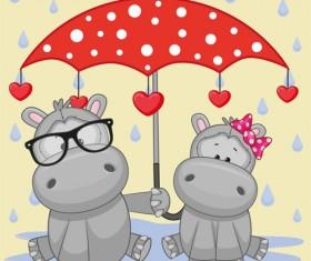 Cute animals and umbrella cartoon vector 08