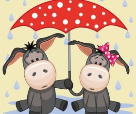 Cute animals and umbrella cartoon vector 10