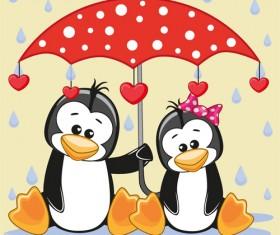Cute animals and umbrella cartoon vector 12