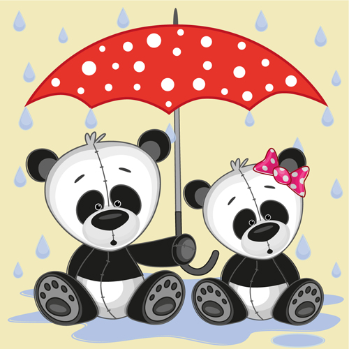 Cute animals and umbrella cartoon vector 13
