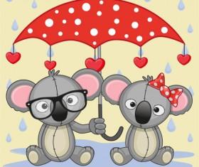 Cute animals and umbrella cartoon vector 14
