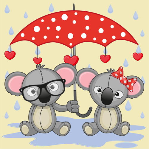 Cute animals and umbrella cartoon vector 14