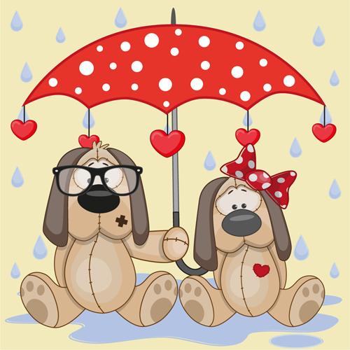 Cute animals and umbrella cartoon vector 16