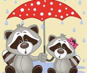 Cute animals and umbrella cartoon vector 17